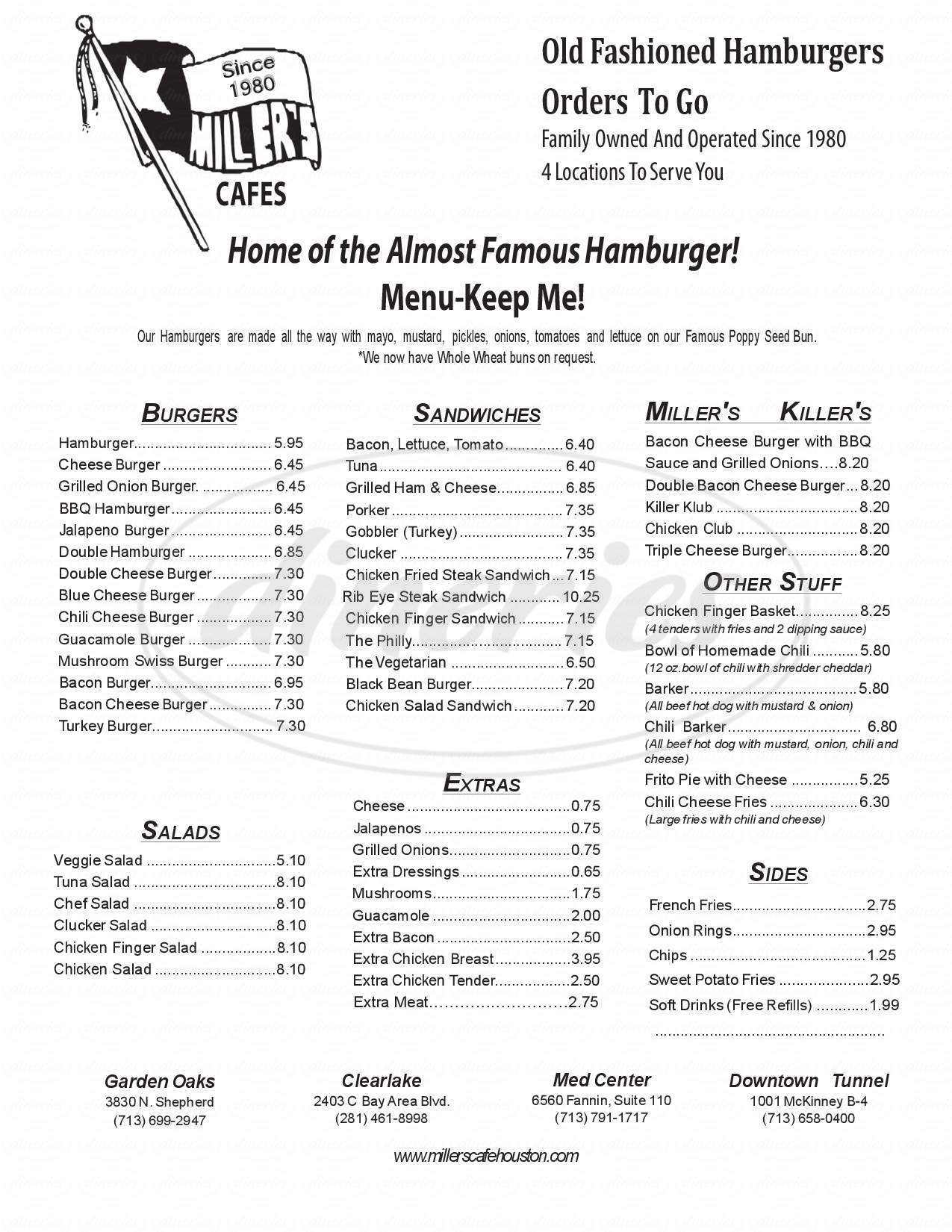 menu for Miller's Cafe