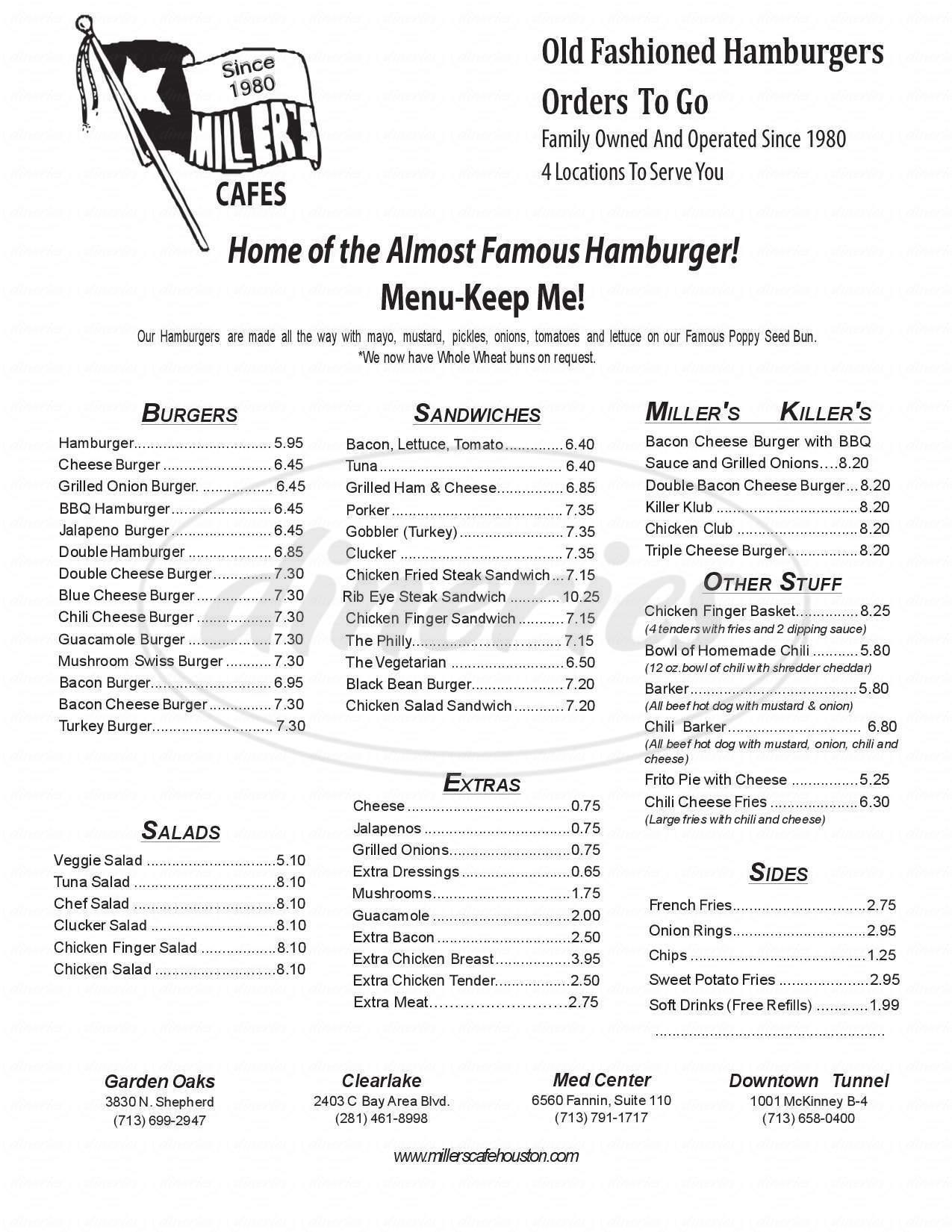 menu for Miller's Cafe