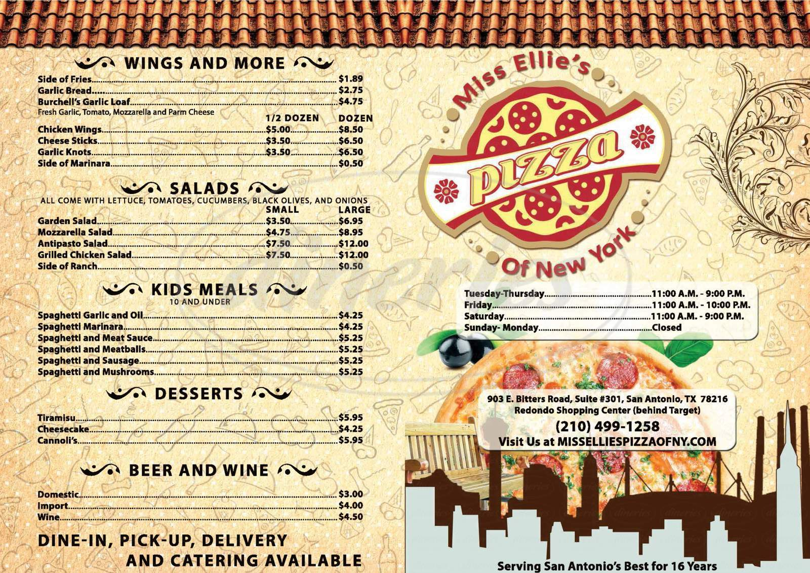 menu for Miss Ellie's Pizza