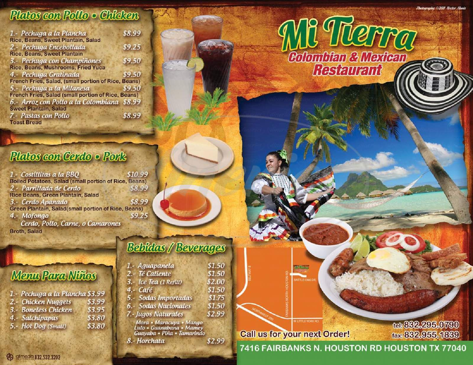 menu for Mi Tierra Colombian & Mexican Restaurant
