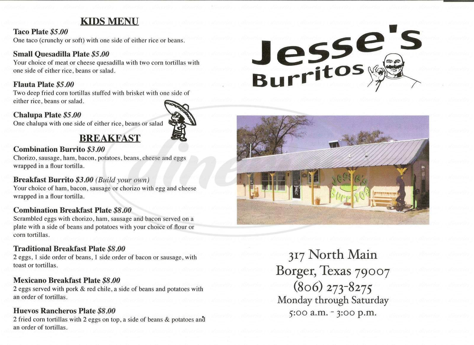 menu for Jesse's Burritos