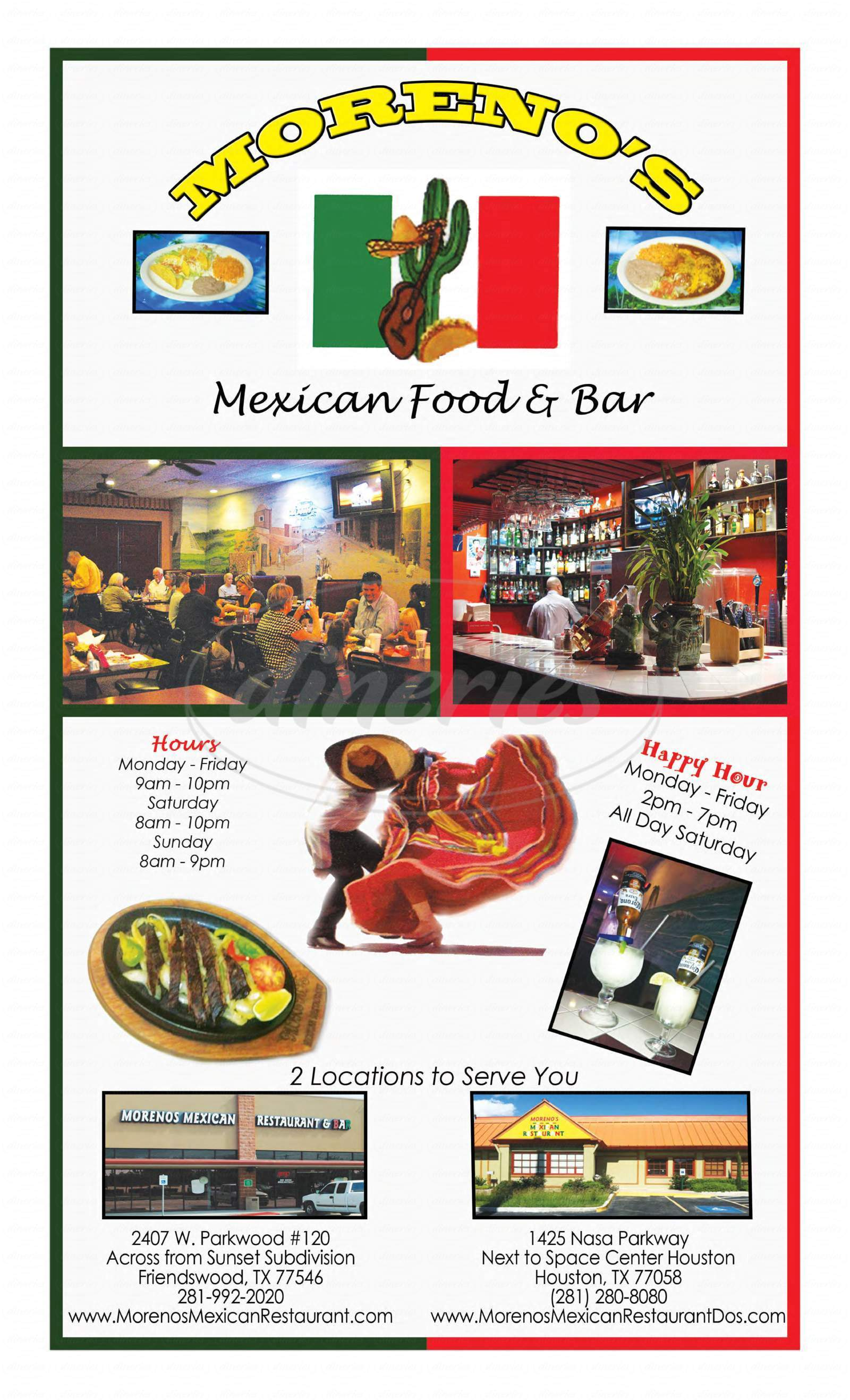 menu for Moreno's Mexican Restaurant