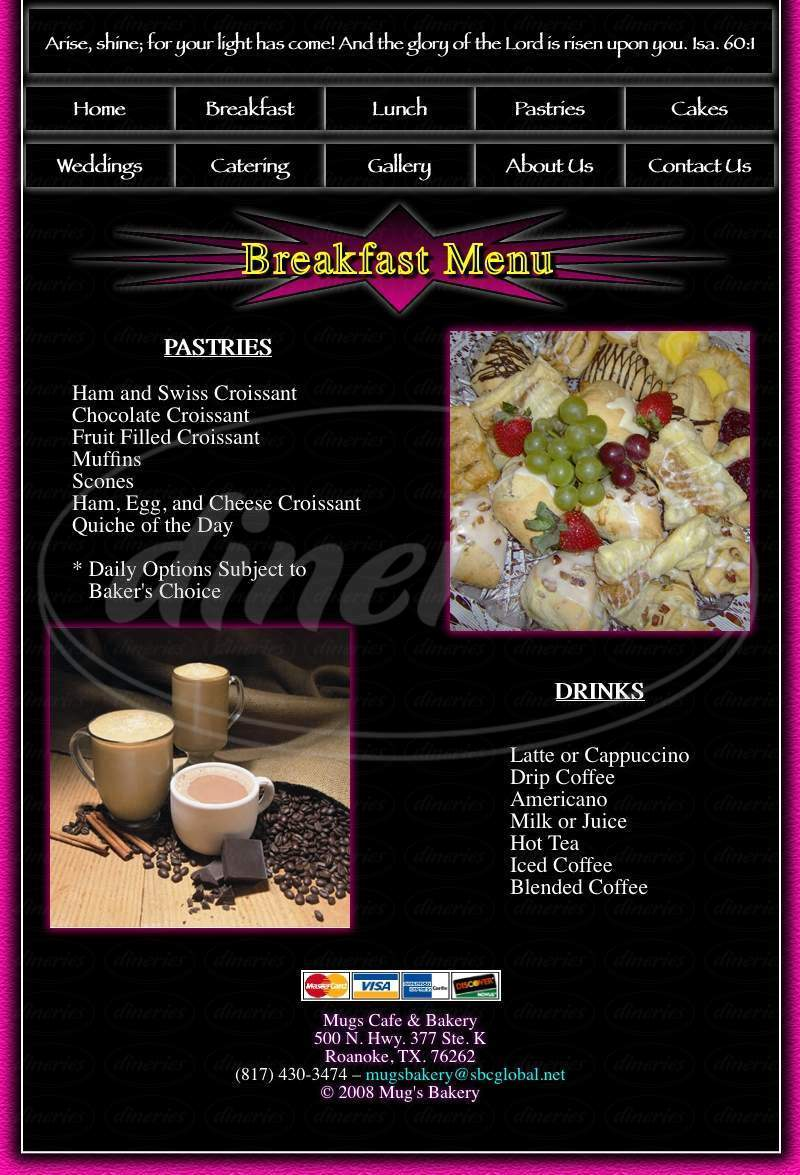 menu for Mug's Cafe & Bakery