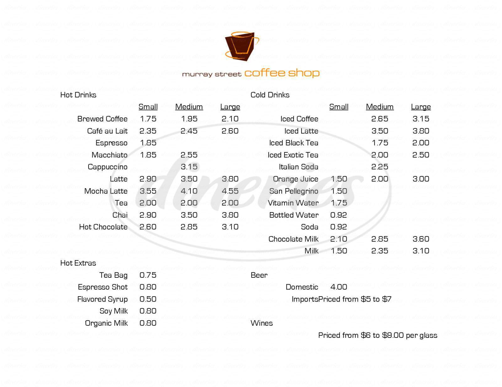menu for Murray Street Coffee Shop