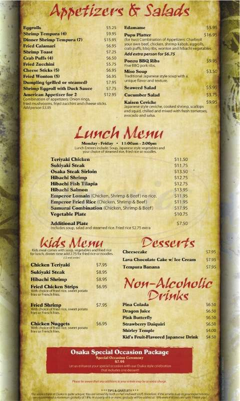 menu for Osaka Japanese Steakhouse