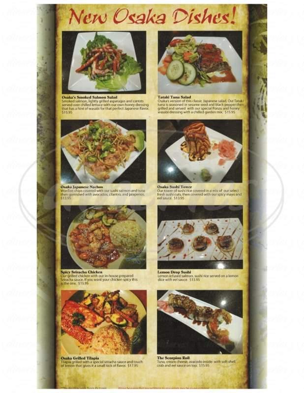 menu for Osaka Japanese Steakhouse