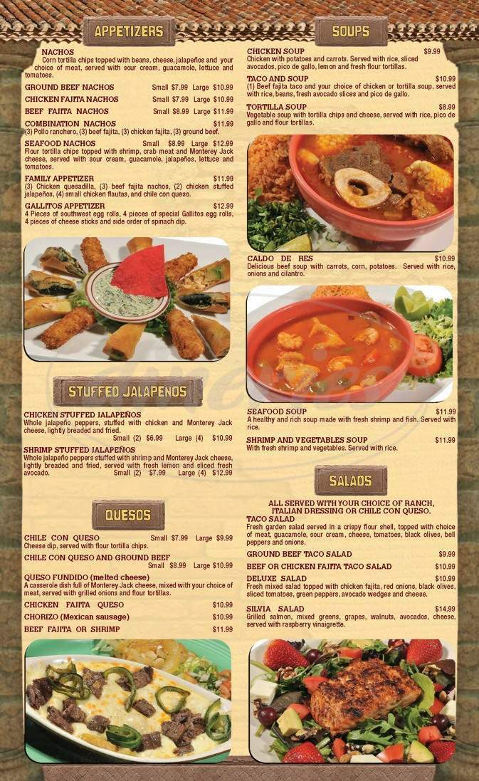 menu for Los Gallitos Mexican Cafe