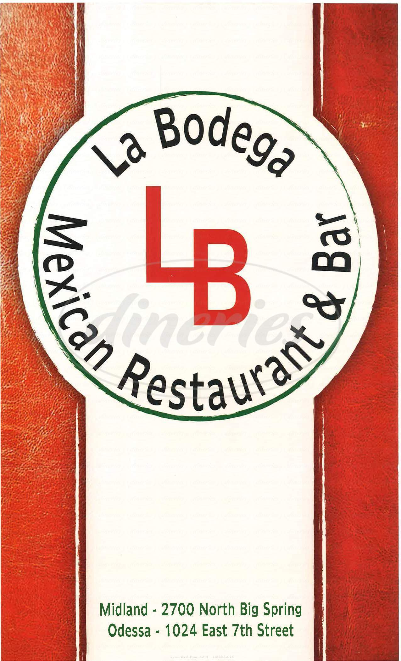 menu for La Bodega Mexican Restaurant
