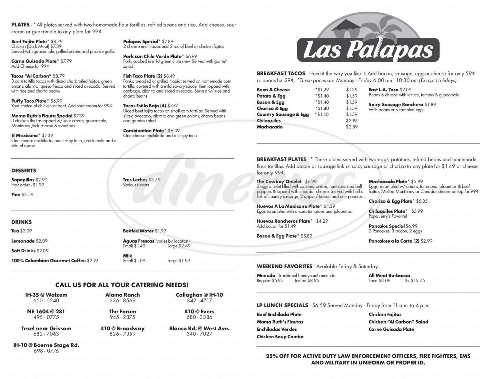 menu for Las Palapas