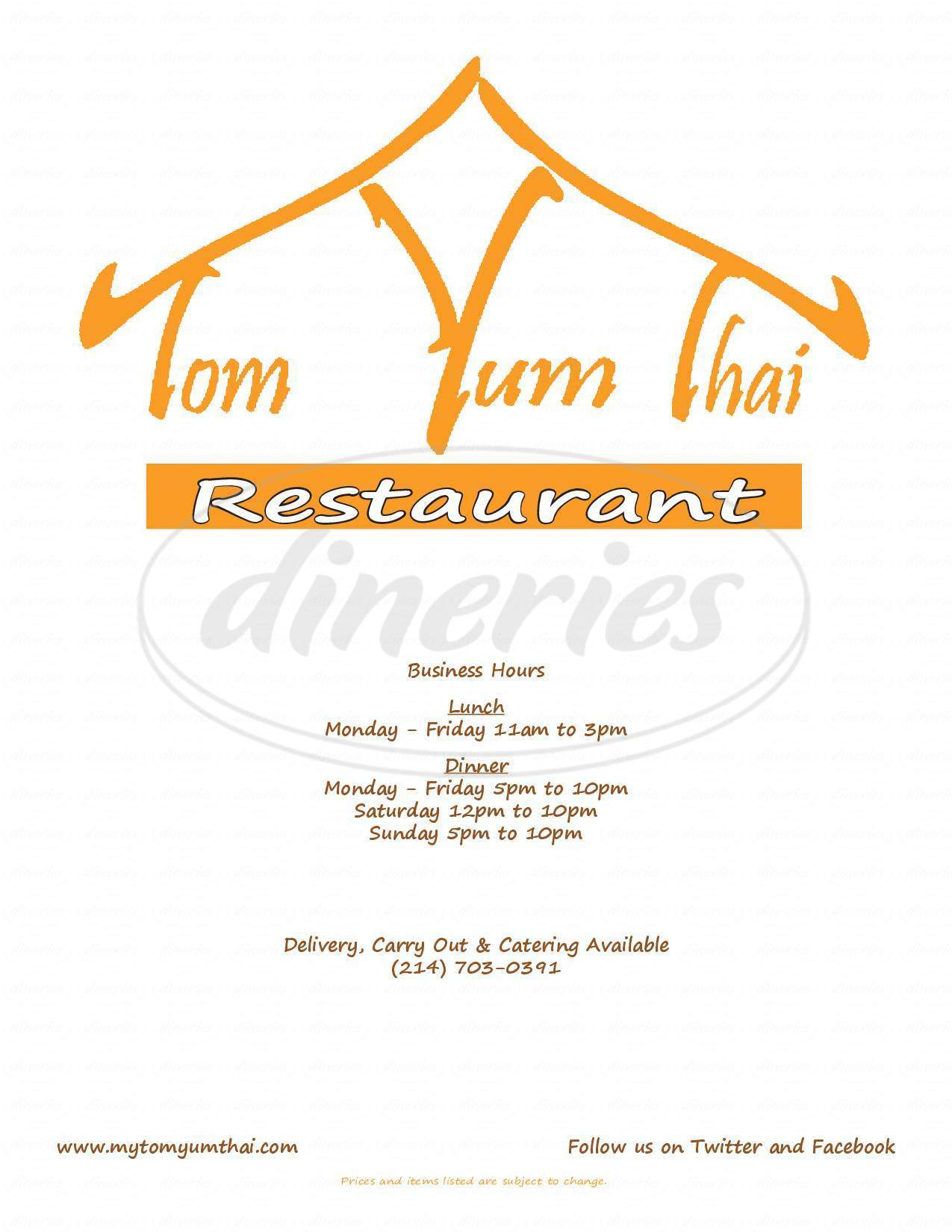 menu for Tom Yum Thai