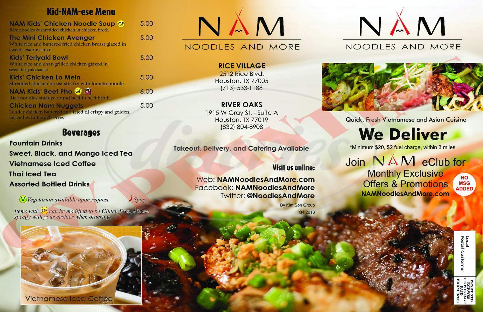 menu for NAM Noodles & More