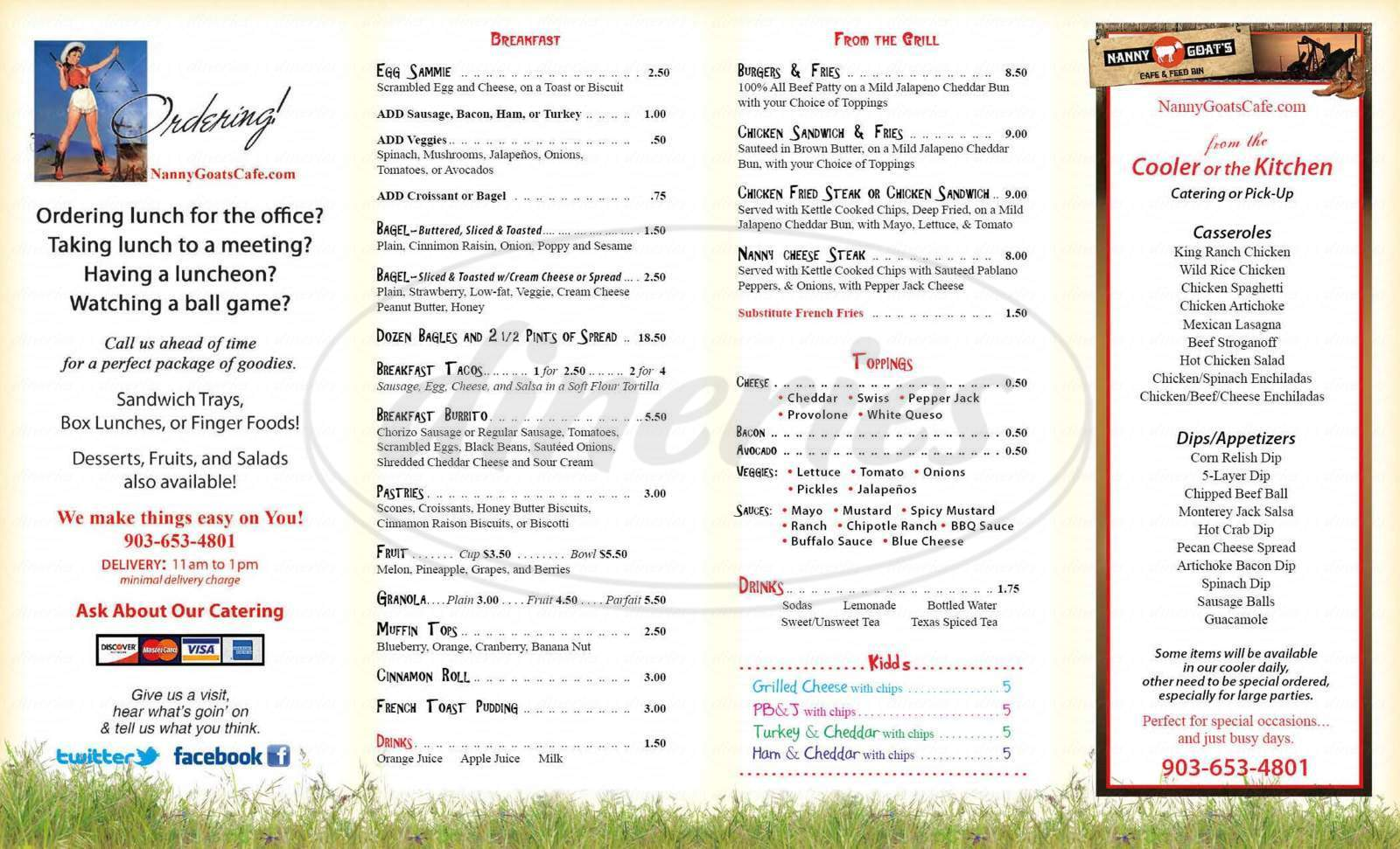 menu for Nanny Goats Cafe & Feed Bin
