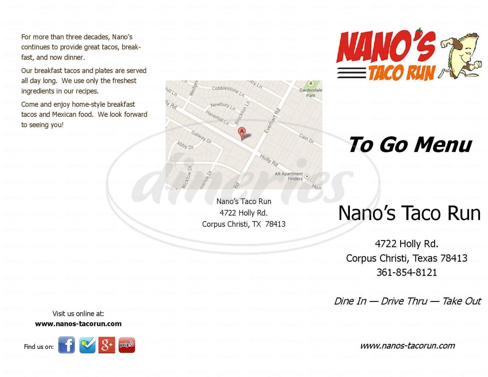 menu for Nano's Taco Run