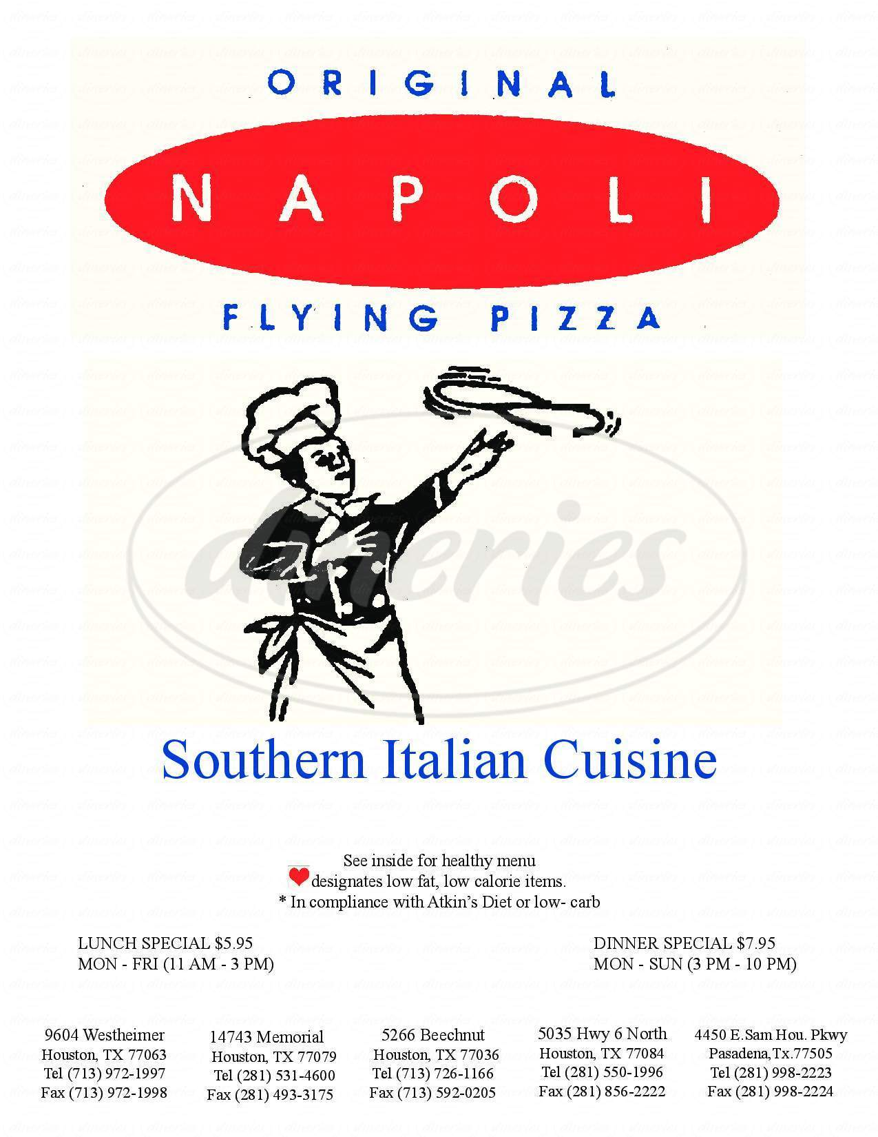 menu for Original Napoli Restaurant