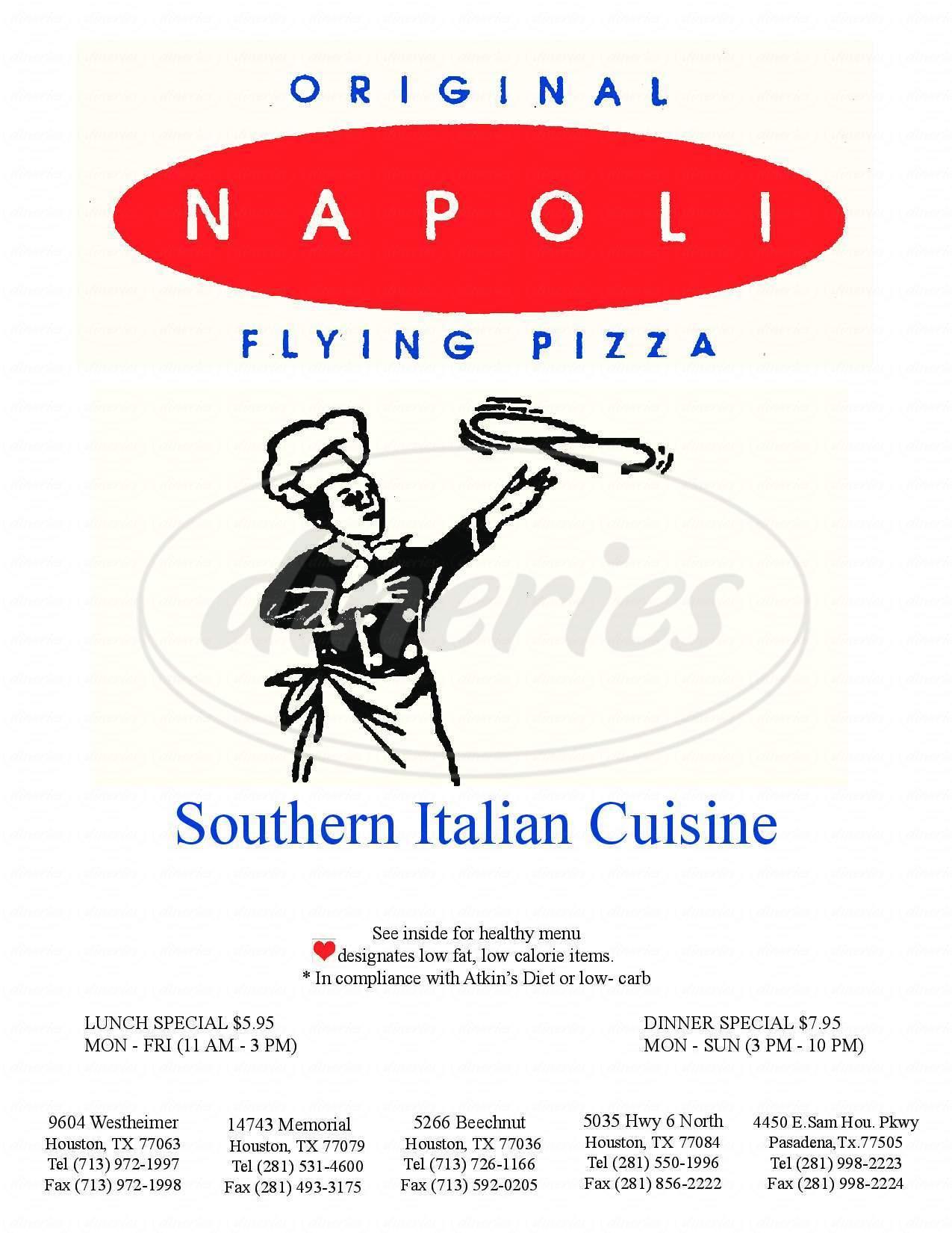 menu for Original Napoli Restaurant