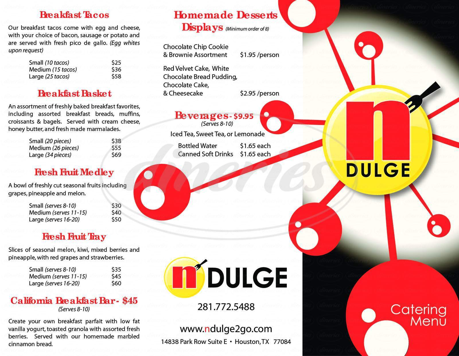 menu for Cafe N'Dulge
