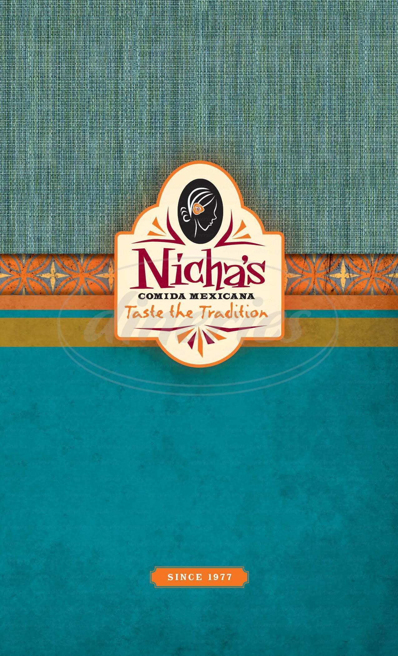 menu for Nicha's Comida Mexicana