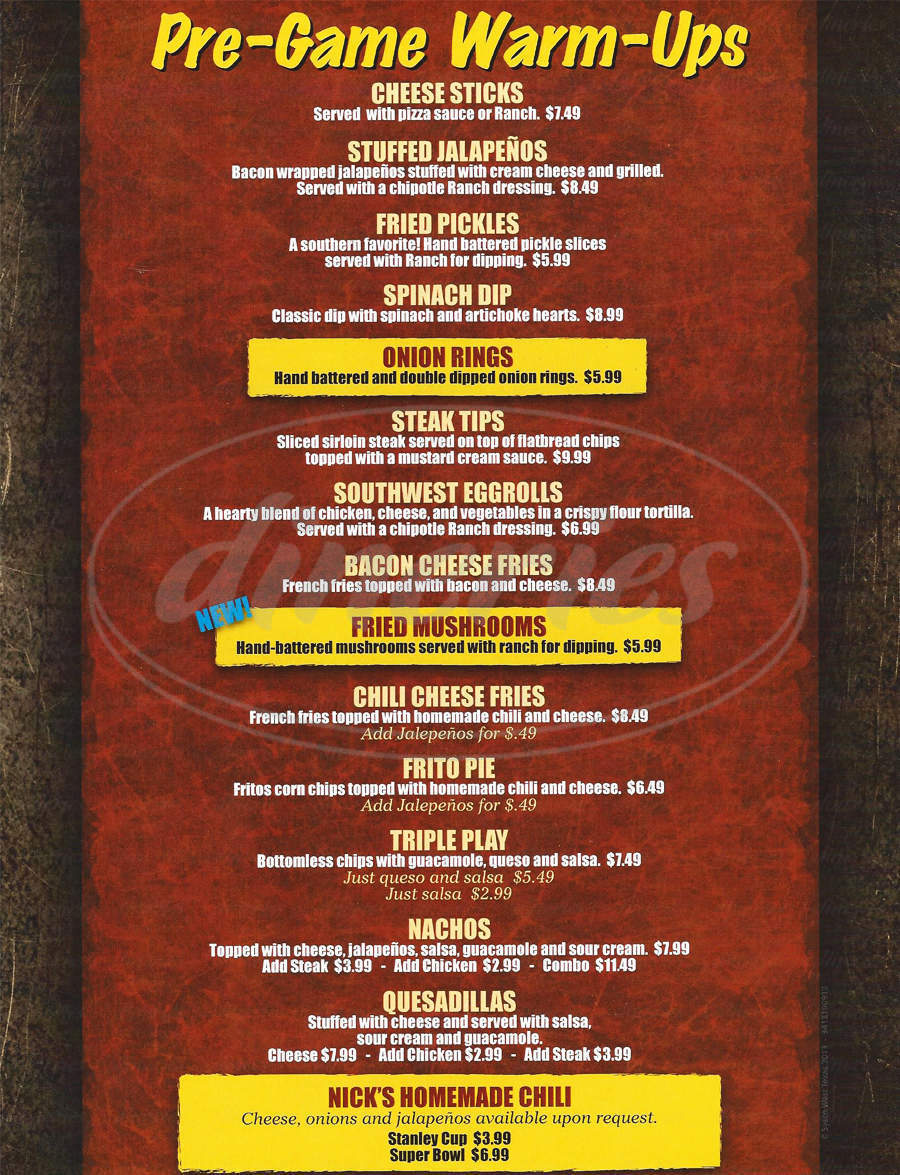 menu for Nick's Sports Grill and Lounge