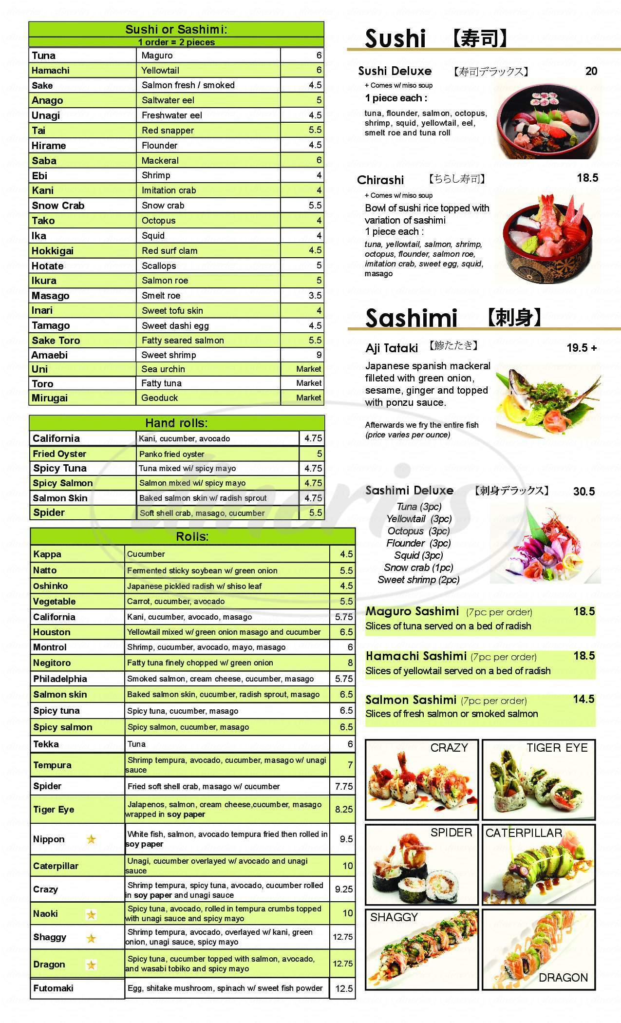 menu for Nippon Japanese Restaurant