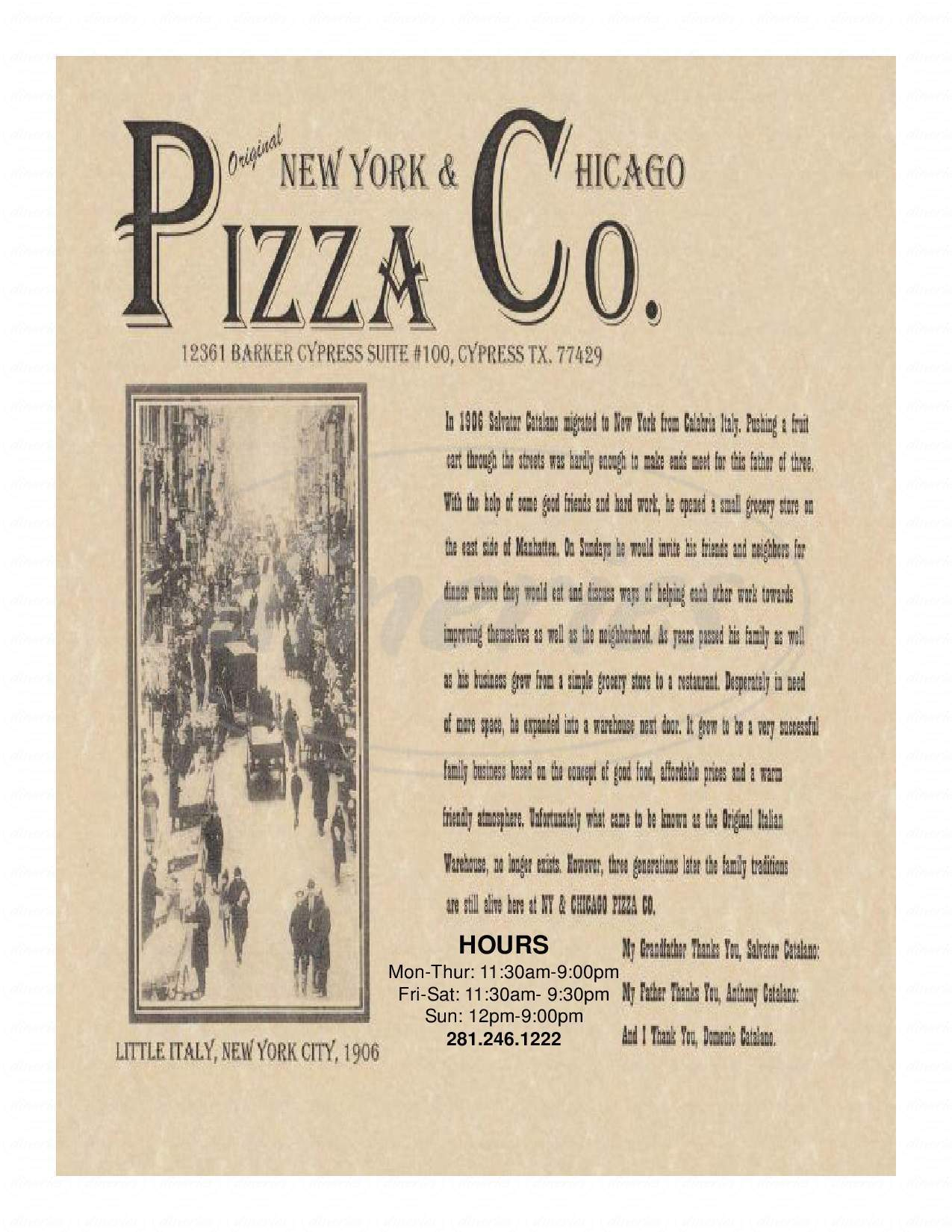 menu for Original New York & Chicago Pizza Company