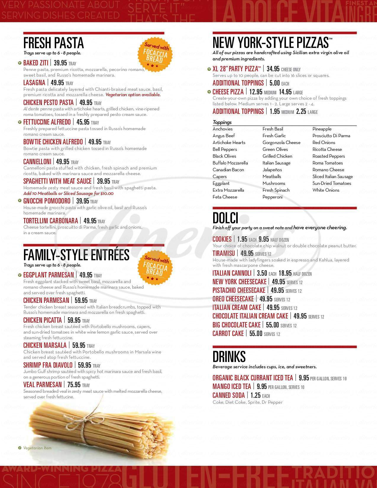 menu for Russo's Coal Fired Italian Kitchen