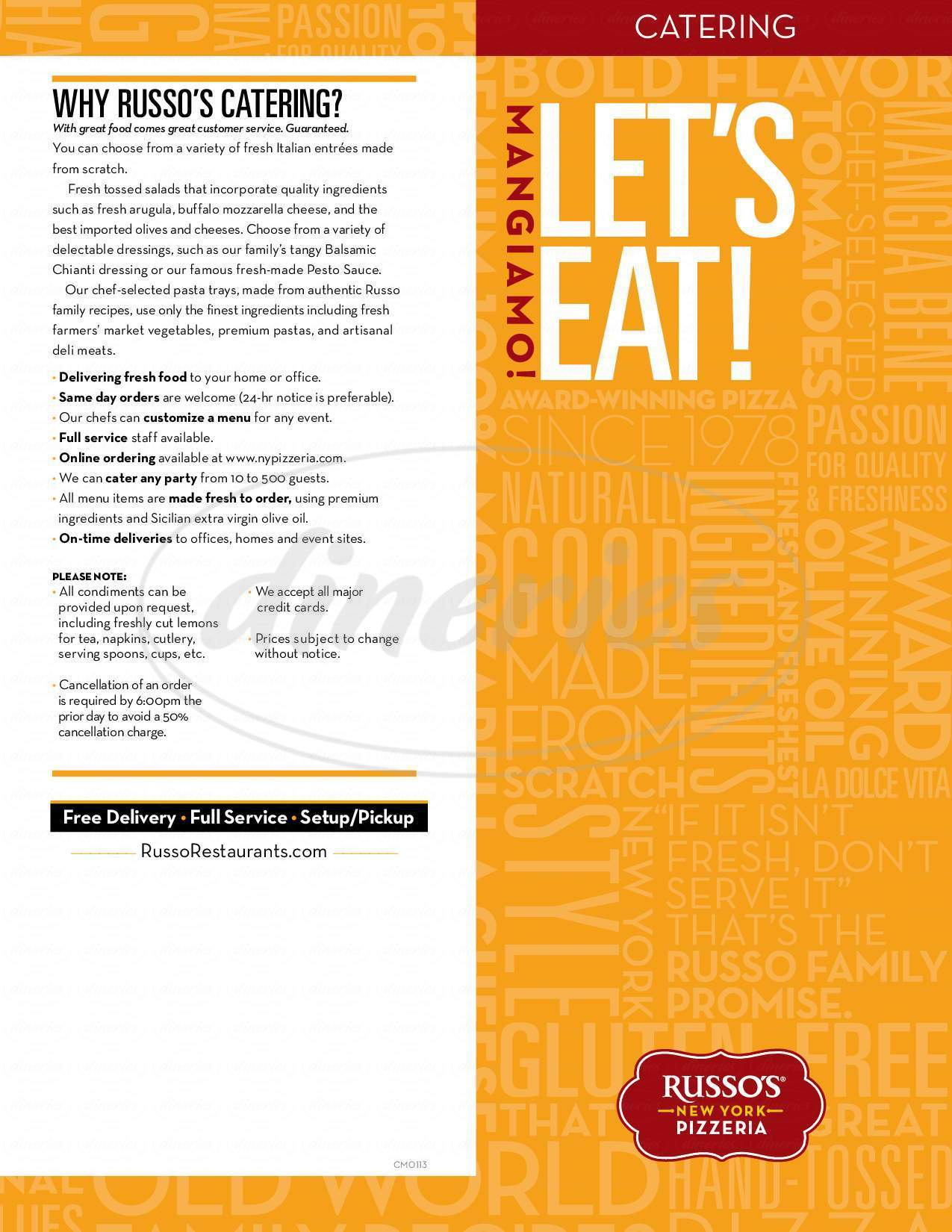 Big menu for Russo's New York Pizzeria, Galeston