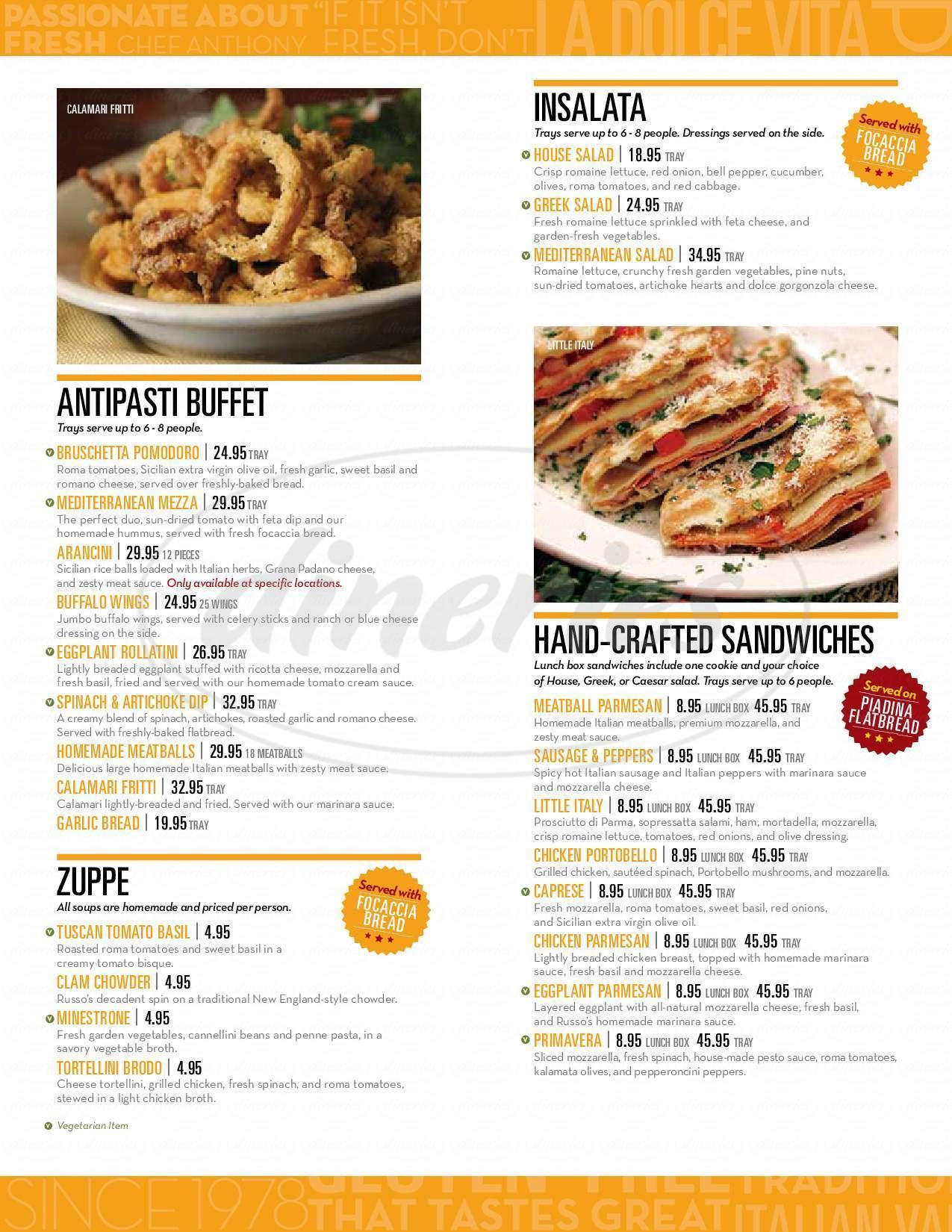 menu for Russo's New York Pizzeria