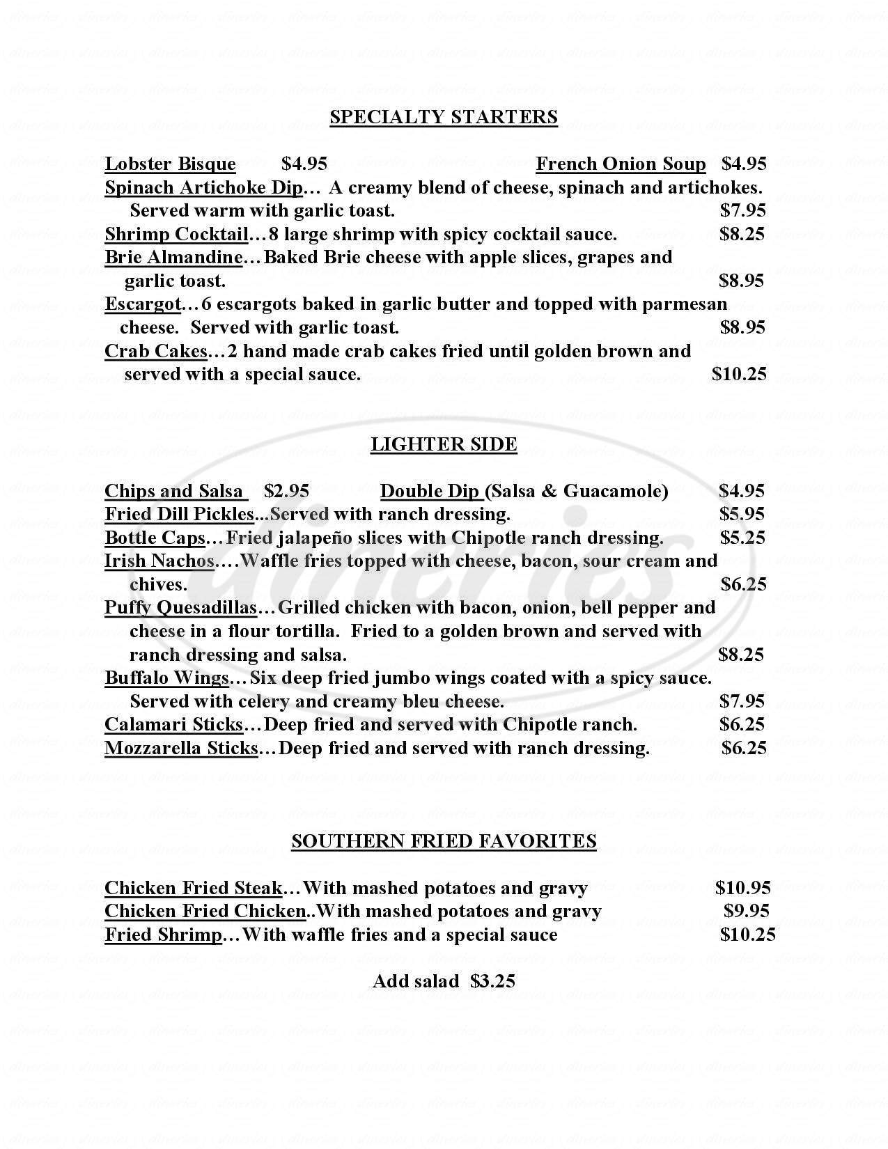 menu for OS2 Restaurant & Pub