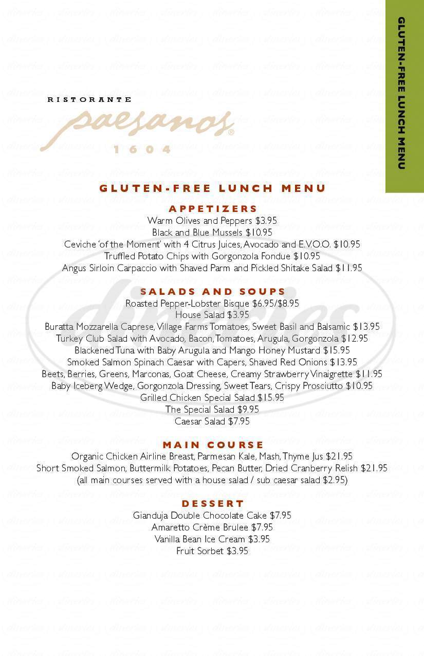 menu for Paesanos 1604
