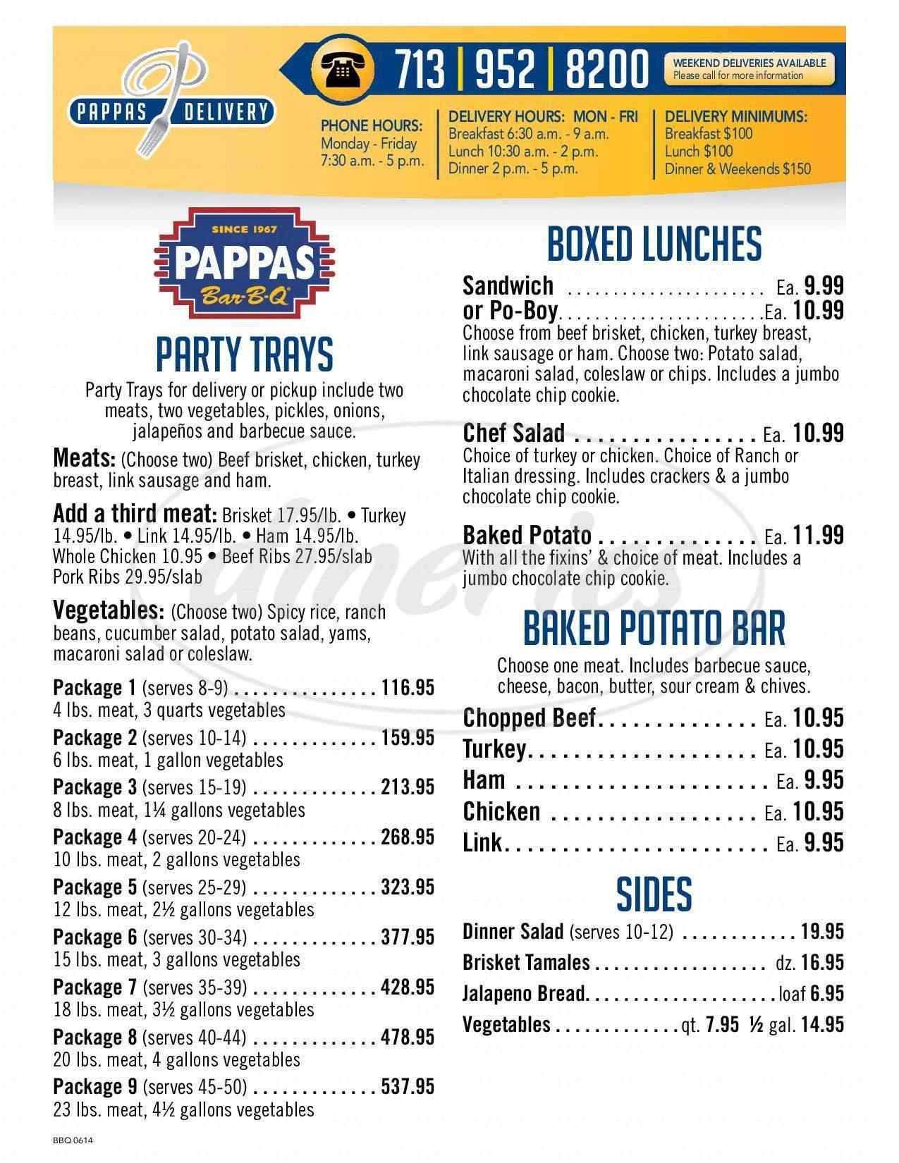 menu for Pappas Bar-B-Q