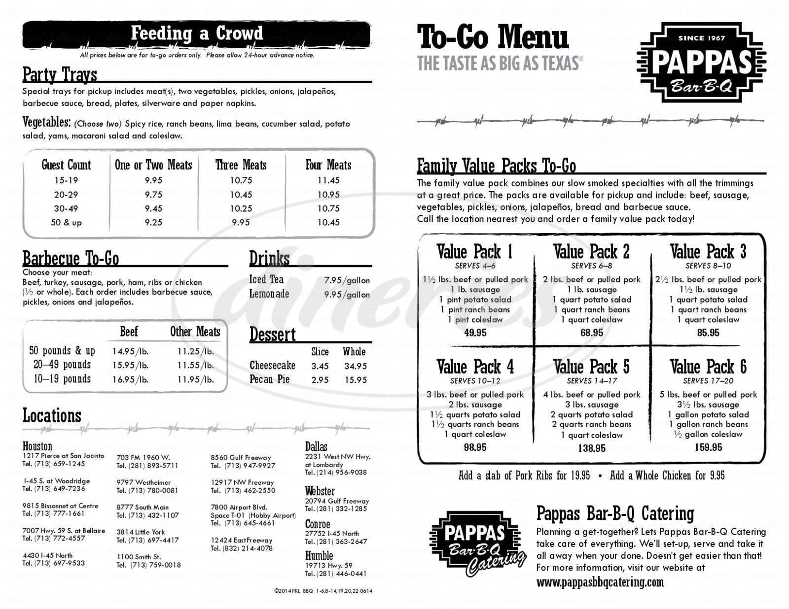 menu for Pappas Bar-B-Q