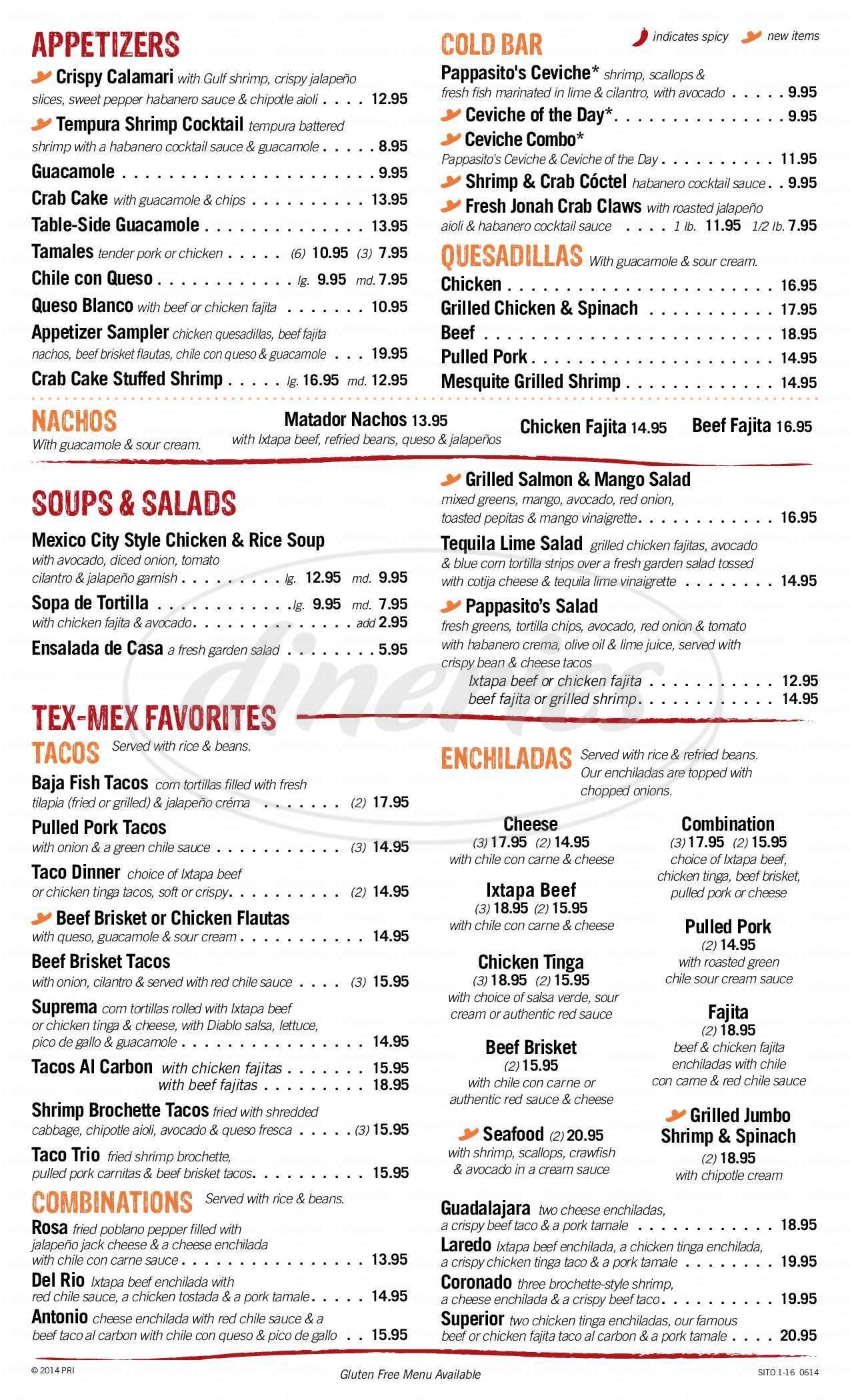 menu for Pappasito's Cantina