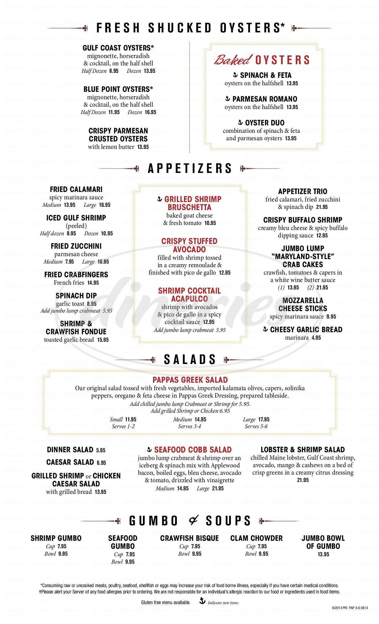 Pappas Seafood House Menu - Webster - Dineries