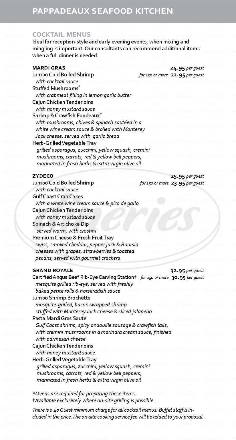 Pappas Seafood House Menu - Houston - Dineries