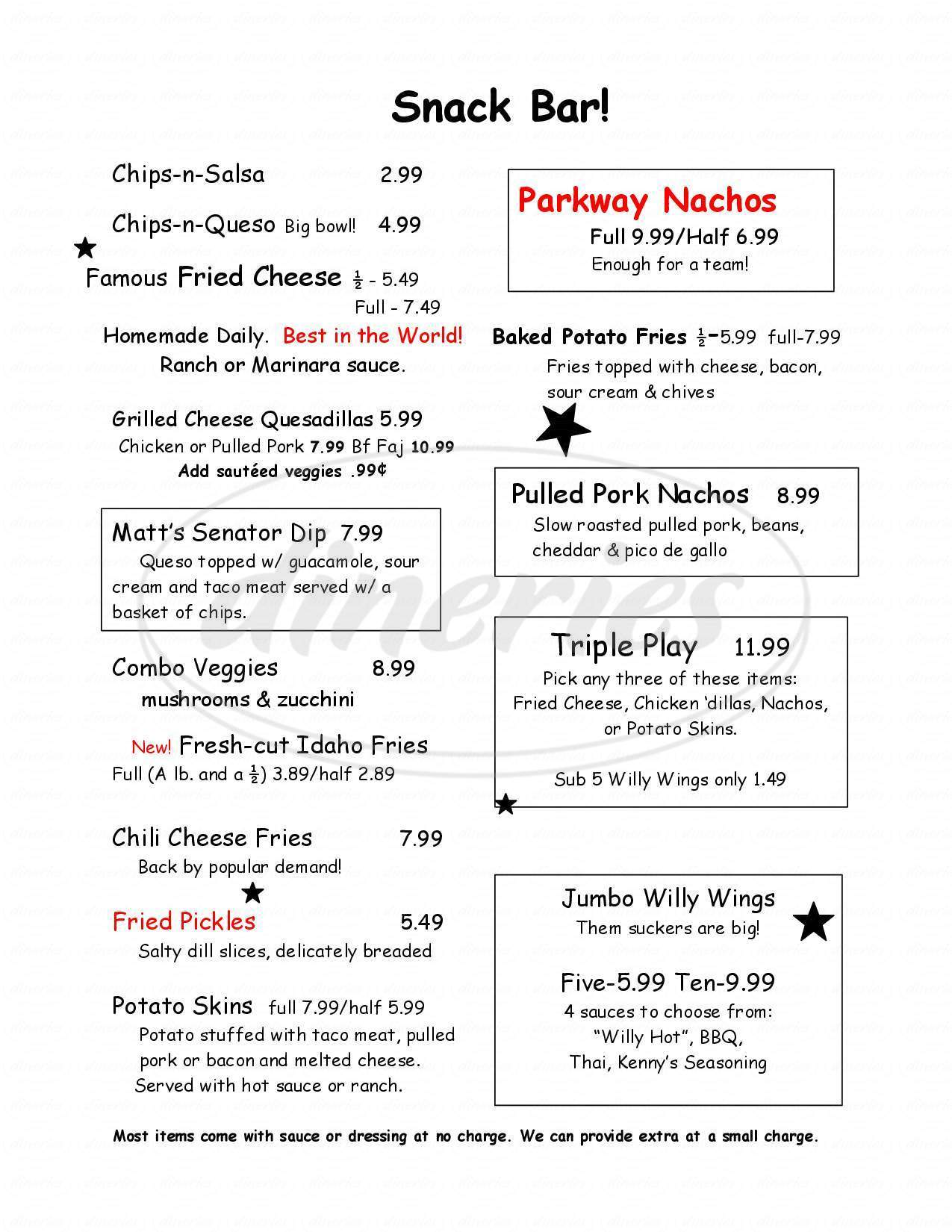 menu for The Parkway Grill