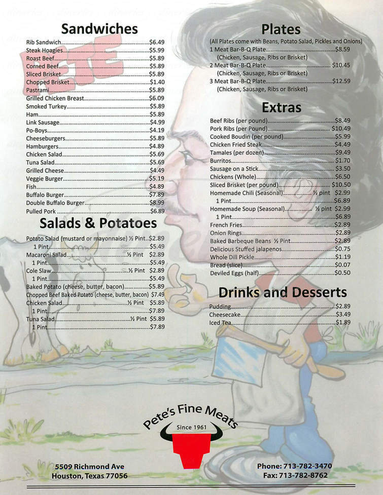 menu for Pete's Fine Meats & Deli