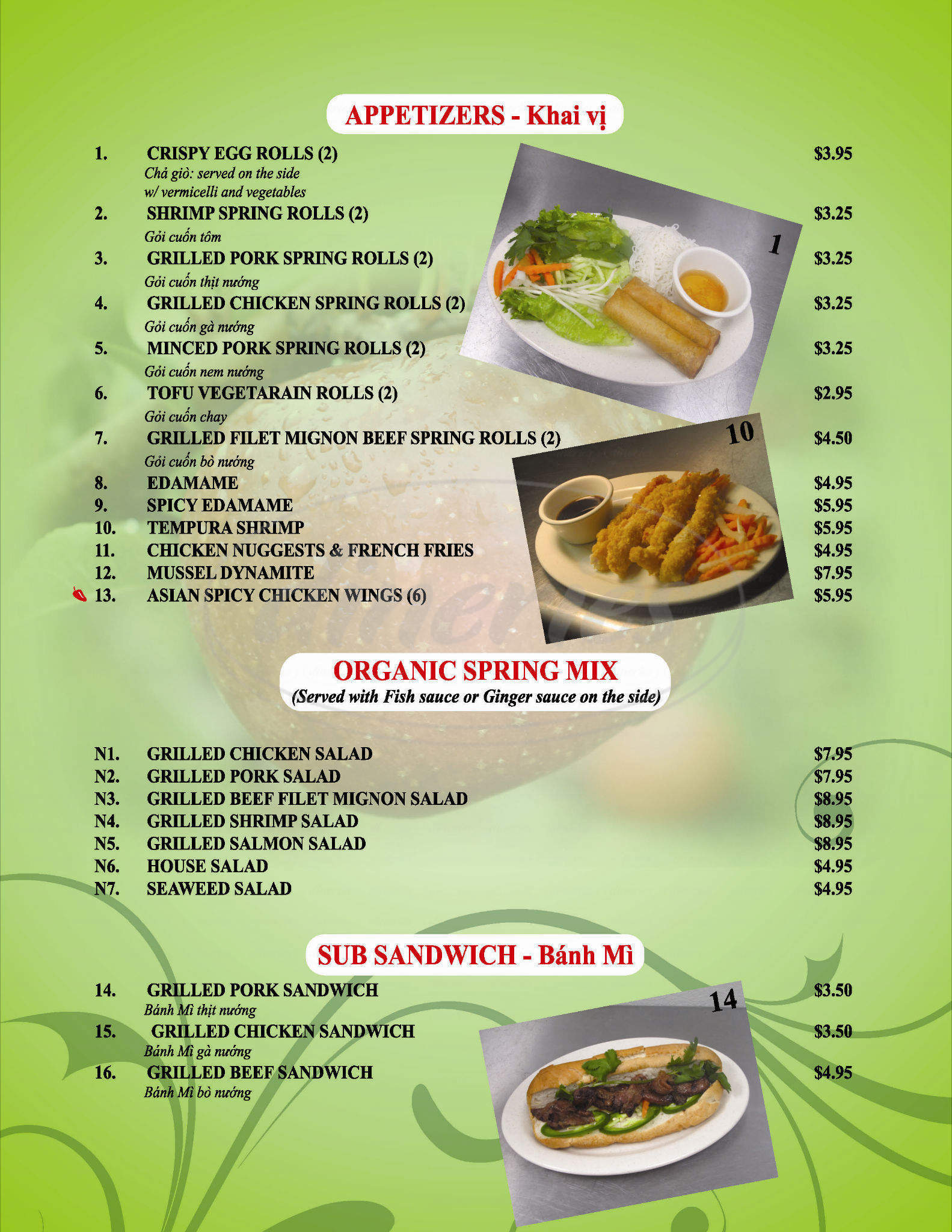 menu for Pho Apple