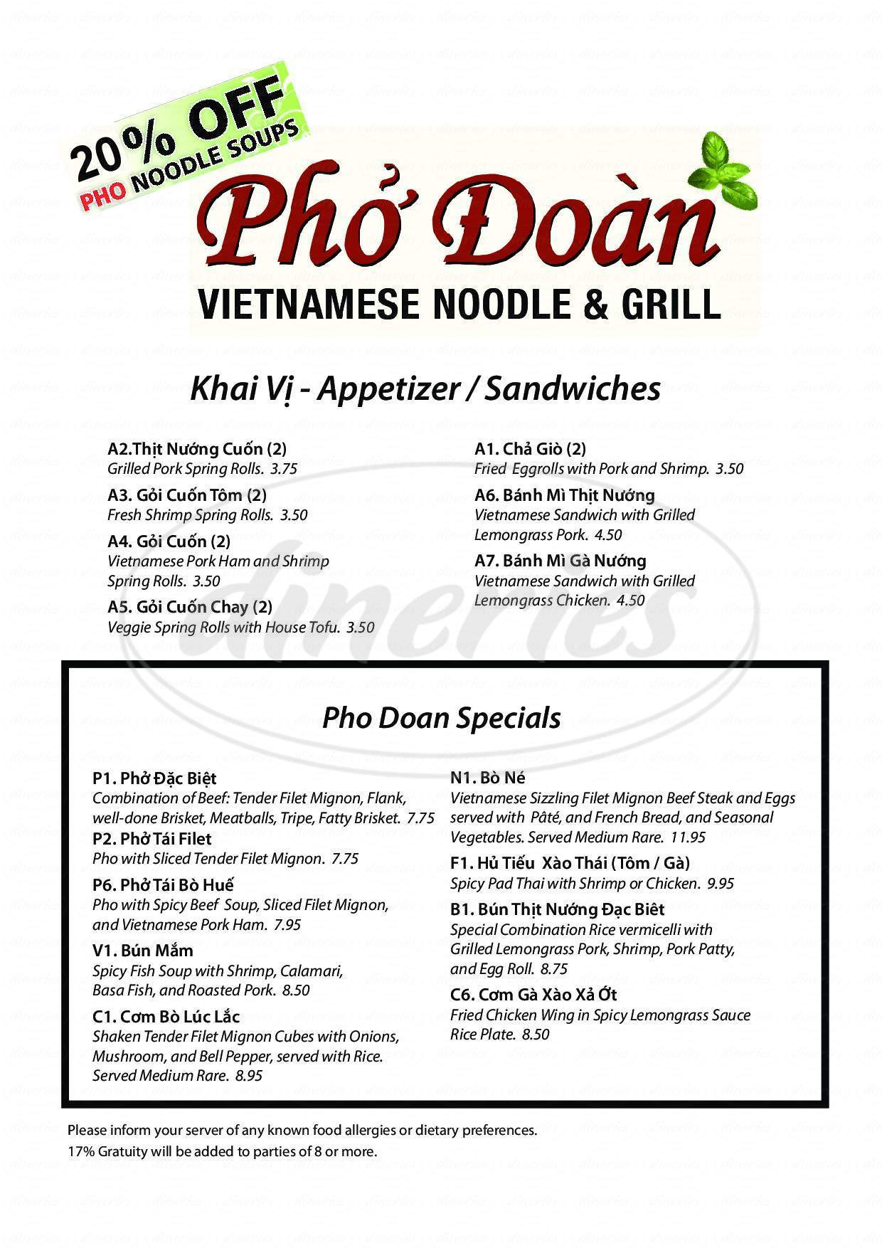 menu for Pho Doan