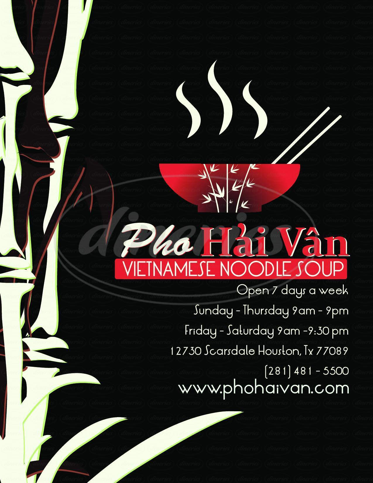 menu for Pho Hai Van