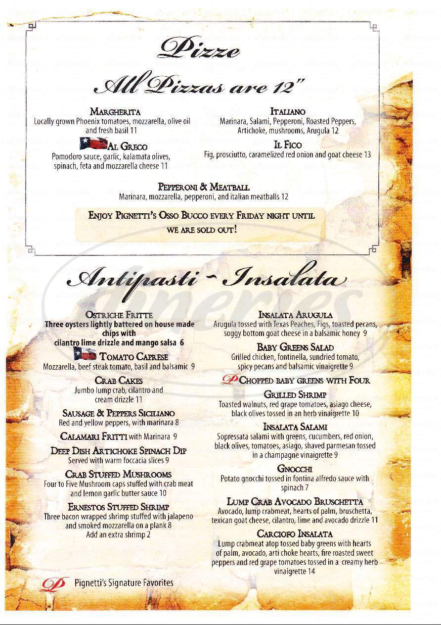 menu for Pignetti's Italian Restaurant