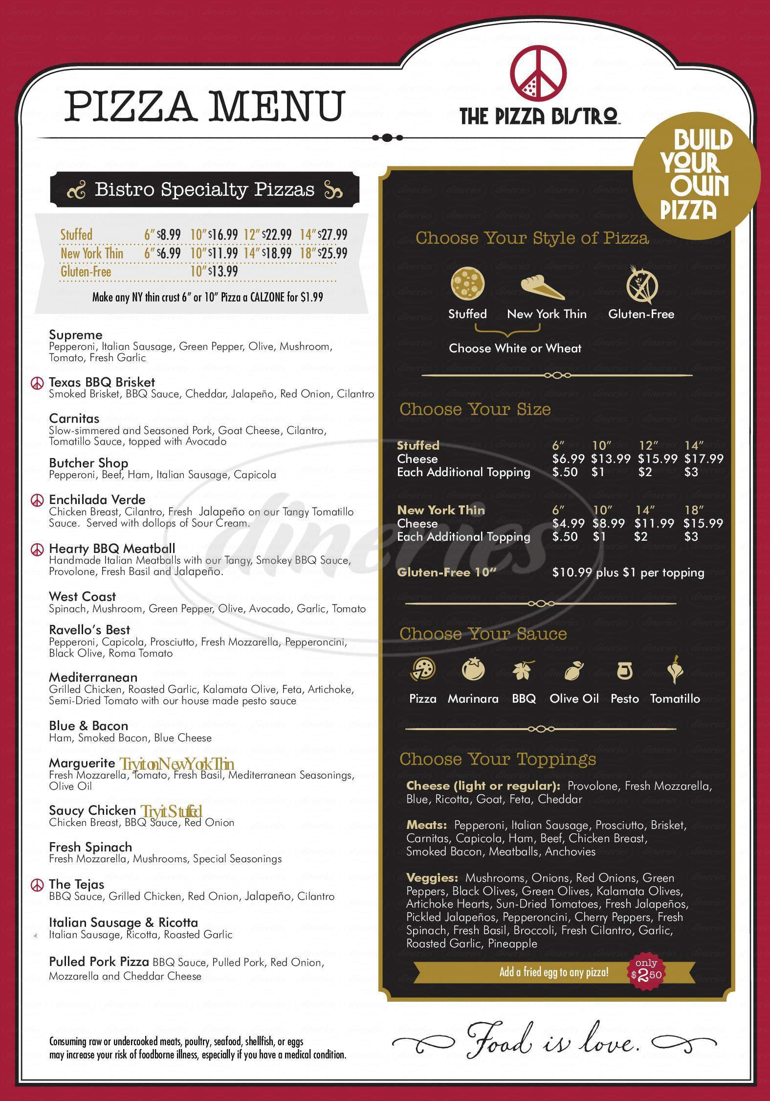 menu for The Pizza Bistro