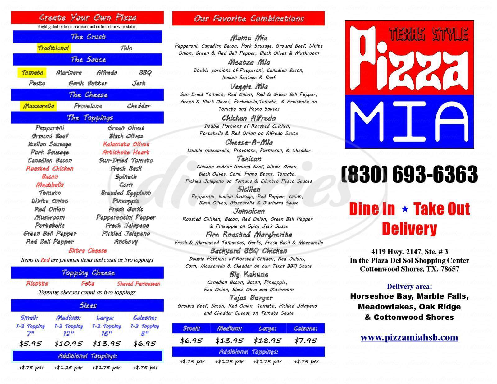 menu for Pizza Mia