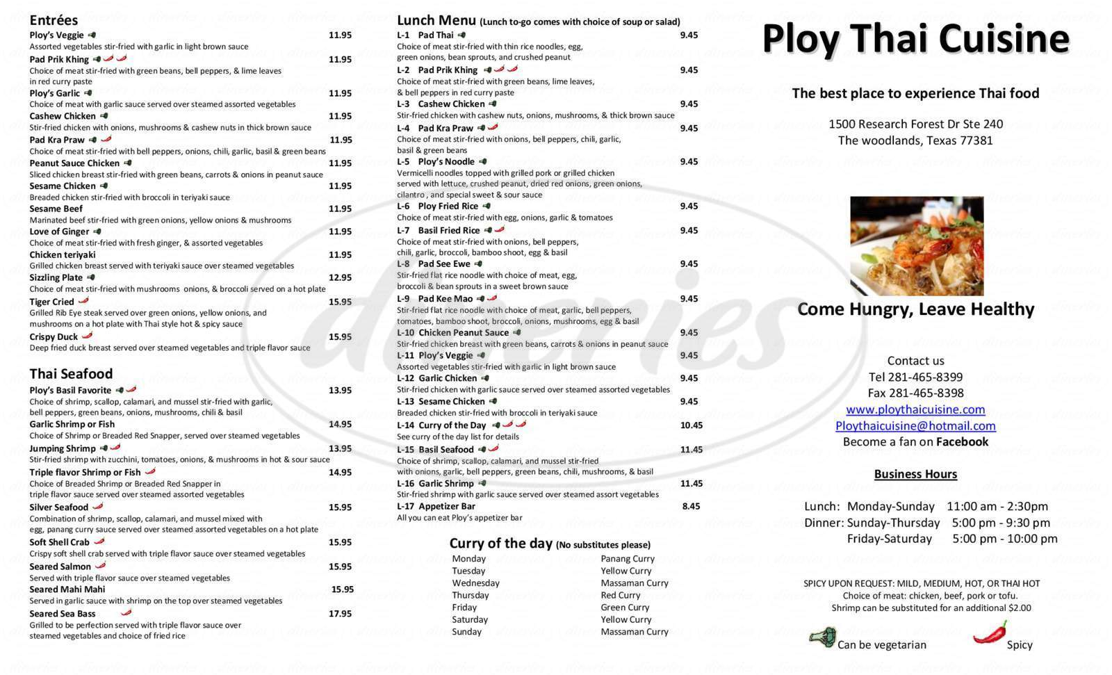 menu for Ploy Thai Cuisine