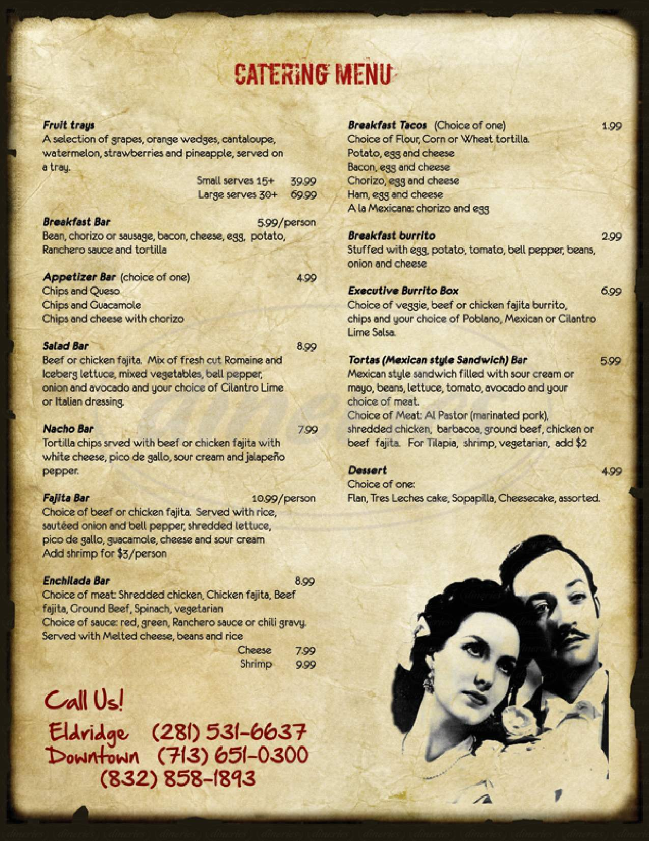 menu for Poblano's Mexican Grill