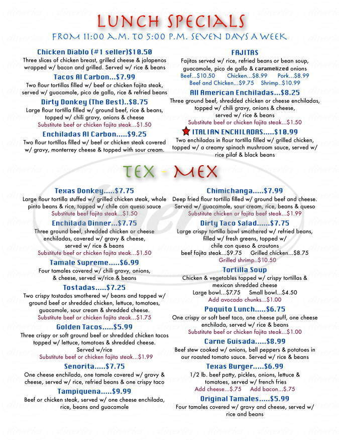 menu for Rancho Grande Grill And Cantina