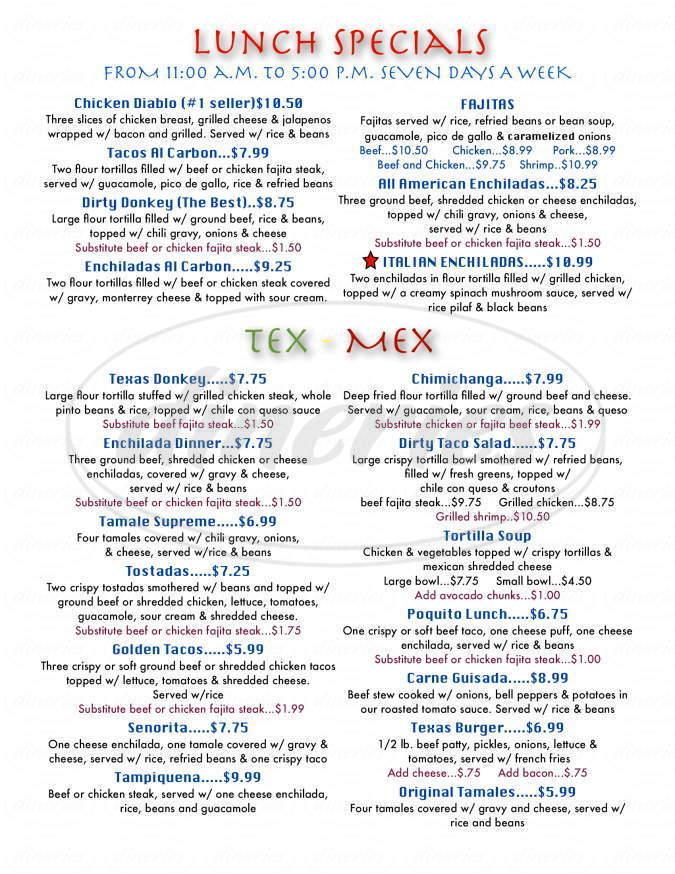 menu for Rancho Grande Grill And Cantina