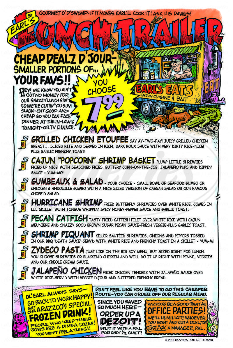 menu for Razzoo's Cajun Cafe