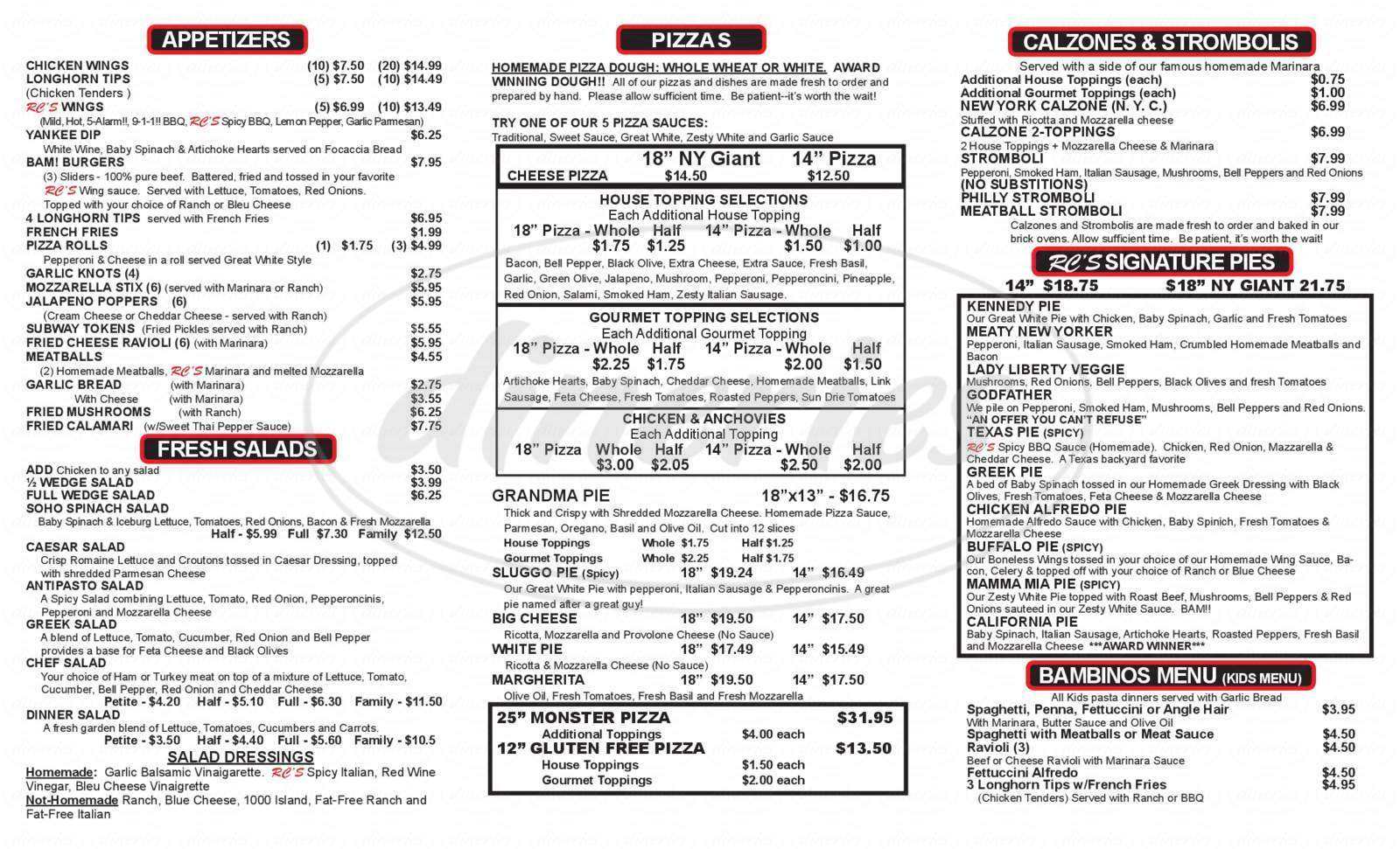 menu for Rc's Pizza