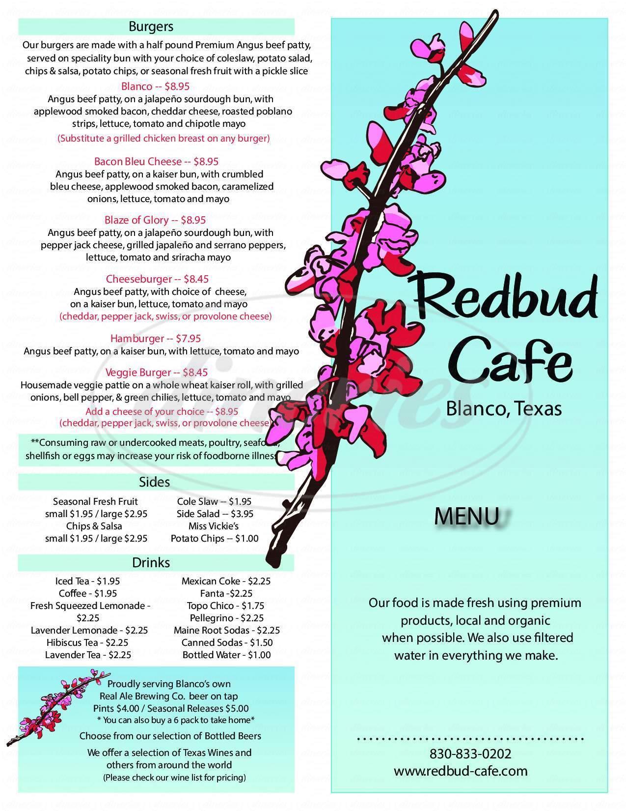 menu for Redbud Cafe Market and Pub