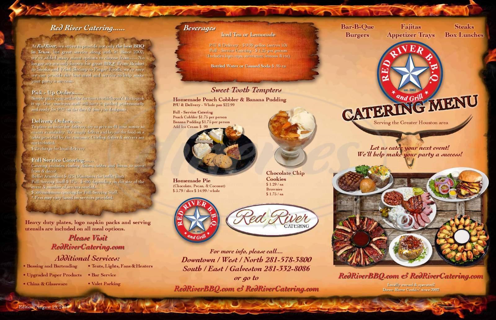 menu for Red River Bar-B-Que Company